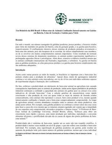 Um Relatório da HSI Brasil: O Bem-estar de Animais Confinados ...