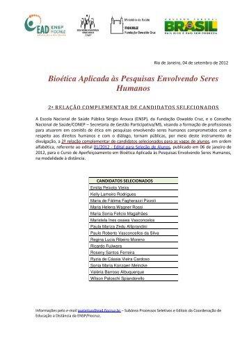 Bioética Aplicada às Pesquisas Envolvendo Seres ... - EAD - Fiocruz