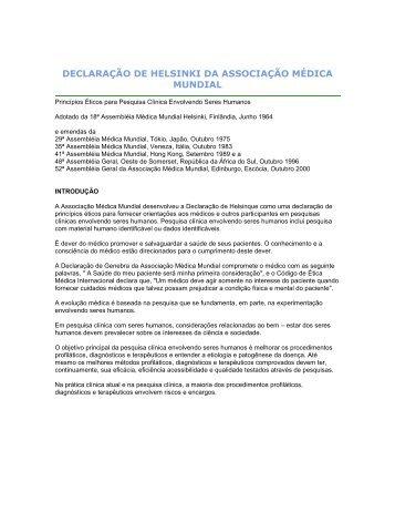 Resoluções Brasileiras em Pesquisa Clínica envolvendo Seres ...