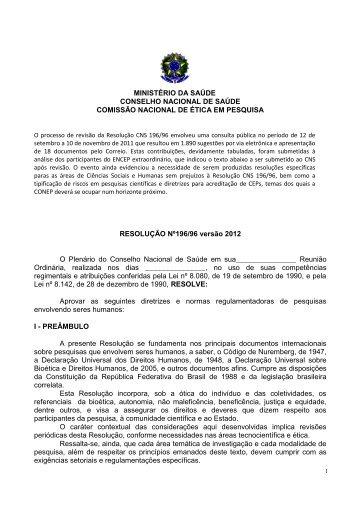 Resolução 196/96 ENCEP 2012 - Conselho Nacional de Saúde ...