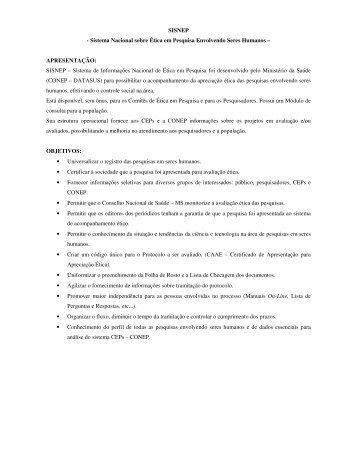 SISNEP - Sistema Nacional sobre Ética em Pesquisa Envolvendo ...