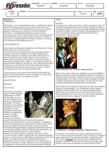 Exercícios / /2012 2° Ano Consuelo H. da Arte 153 - Colégio ...