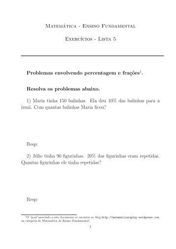 Exercícios de Matemática do Ensino Fundamental – Lista 5