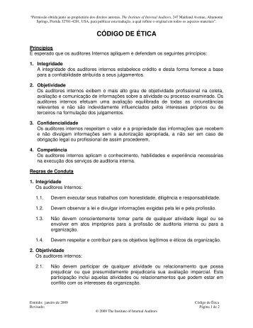 CÓDIGO DE ÉTICA - Instituto dos Auditores Internos do Brasil