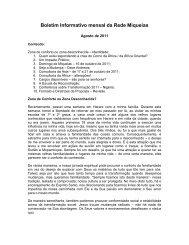 Agosto 2011 - Boletim Informativo Mensal - Micah Network