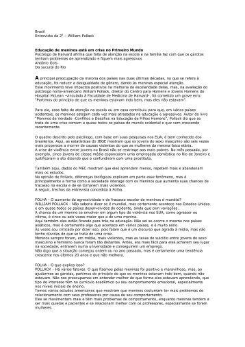 Brasil Entrevista da 2a – William Pollack Educação de ... - forpedi