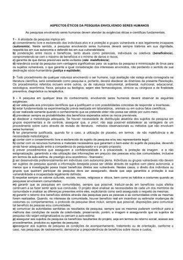 ASPECTOS ÉTICOS DA PESQUISA ENVOLVENDO ... - Univap