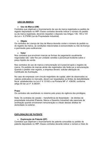 USO DA MARCA • Uso de Marca (UM) Contratos que ... - Inpi
