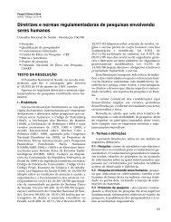 Diretrizes e normas regulamentadoras de pesquisas envolvendo ...