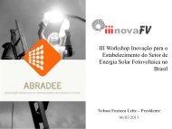 III Workshop Inovação para o Estabelecimento do Setor de Energia ...