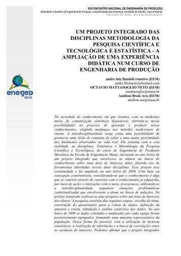 um projeto integrado das disciplinas metodologia da ... - LabCEO