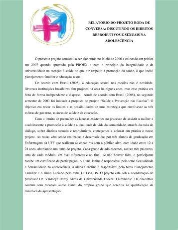 RELATÓRIO DO PROJETO RODA DE CONVERSA ... - UFF