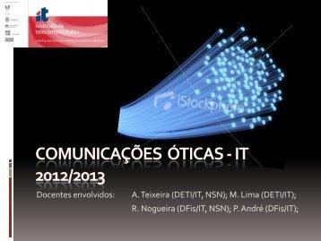 Docentes envolvidos: A. Teixeira (DETI/IT, NSN); M. Lima (DETI/IT)