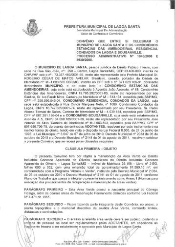Convênio - Prefeitura Municipal de Lagoa Santa