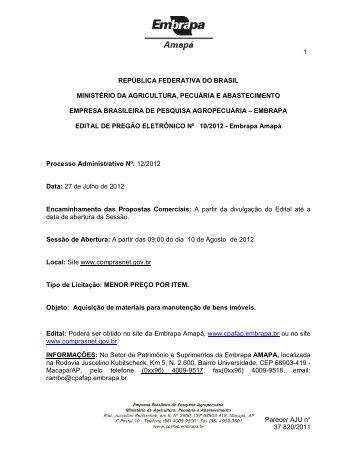 pregão 10 2012 aquisição de materias para manutenção ... - Embrapa
