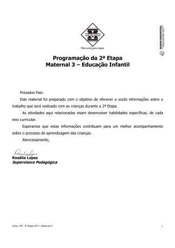 Programação da 2ª Etapa Maternal 3 – Educação Infantil
