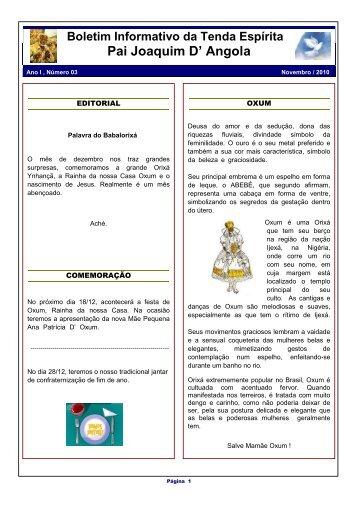 Boletim Informativo - Tenda Espírita Pai Joaquim D' Angola