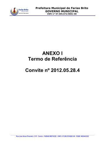 ANEXO I Termo de Referência Convite nº 2012.05.28.4 - TCM-CE