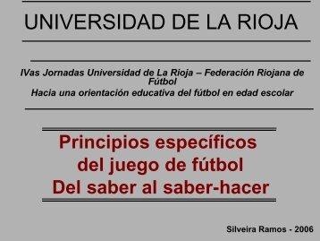 Princípios del juego - del saber al saber-hacer - Escuelas de Fútbol ...