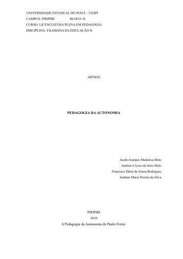 PEDAGOGIA DA AUTONOMIA A Pedagogia da Autonomia ... - Uespi