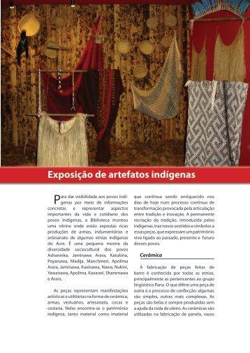 Exposição de artefatos indígenas - Biblioteca da Floresta