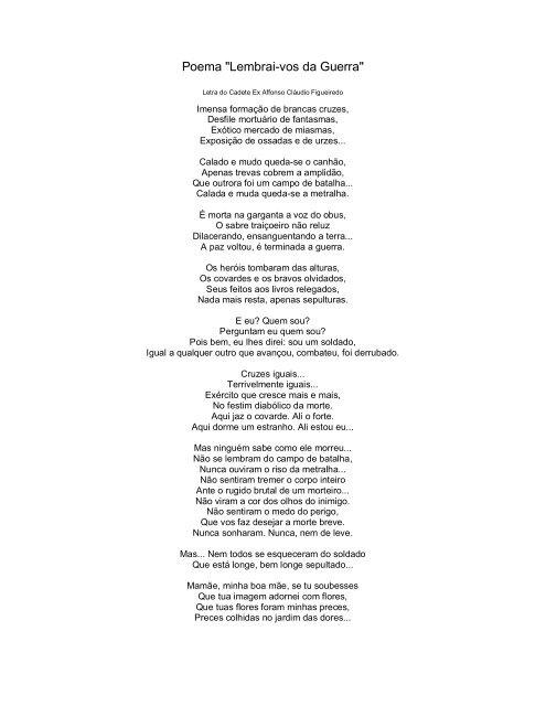 Poema Lembrai Vos Da Guerra Autor Cadete Affonso