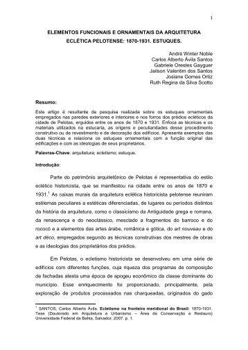 Clique aqui para baixar o artigo completo - Ecletismo em Pelotas