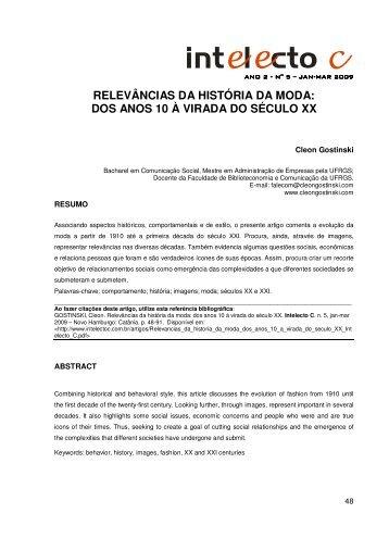 RELEVÂNCIAS DA HISTÓRIA DA MODA: DOS ANOS ... - intelecto C
