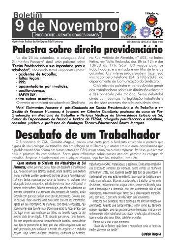Boletim 905 - Sindicato dos Metalúrgicos da Região Sul Fluminense