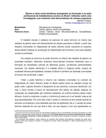 Gênero e etnia como temáticas emergentes na formação e na ação ...