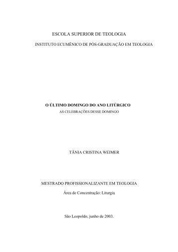 ESCOLA SUPERIOR DE TEOLOGIA - Faculdades EST