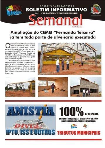 BOLETIM INFORMATIVO - Prefeitura de Barretos