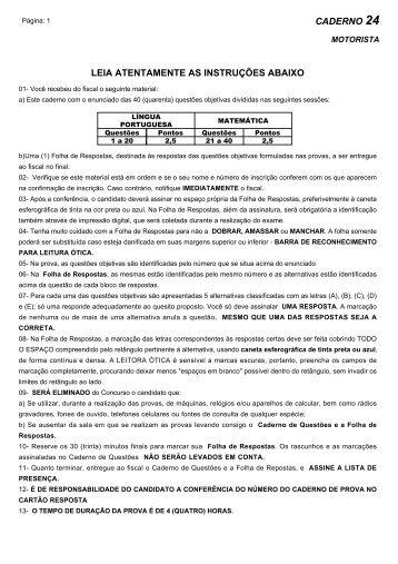 Prova - 24- Soldado Motorista - Central de Concursos