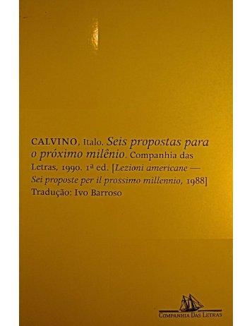 SEIS PROPOSTAS PARA O PRÓXIMO MILÊNIO – Italo Calvino