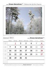 Kalender 2013 - Zinsen-berechnen.de