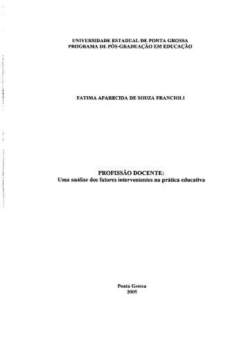 PROFISSÃO DOCENTE: - Universidade Estadual de Ponta Grossa