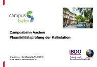 Campusbahn Aachen Plausibilitätsprüfung der Kalkulation