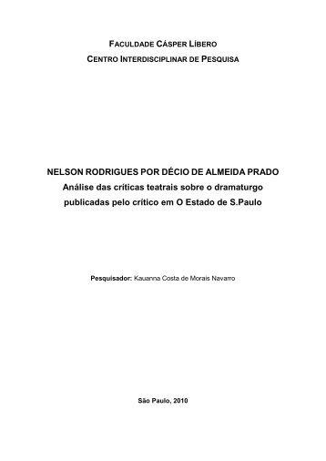 Nelson Rodrigues por Décio Almeida Prado. Análise das críticas ...