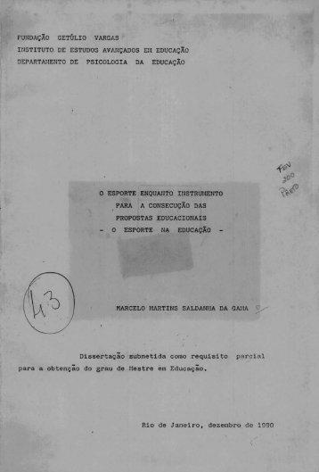 Dissertação submetida como requisi to pat'cial para a obtenção do ...