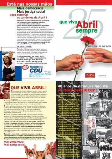 folheto 25 de abril 2004 - Partido Comunista Português