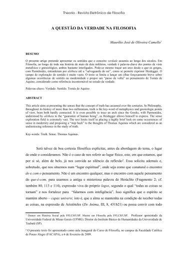 A questão da verdade na Filosofia - Theoria | Revista