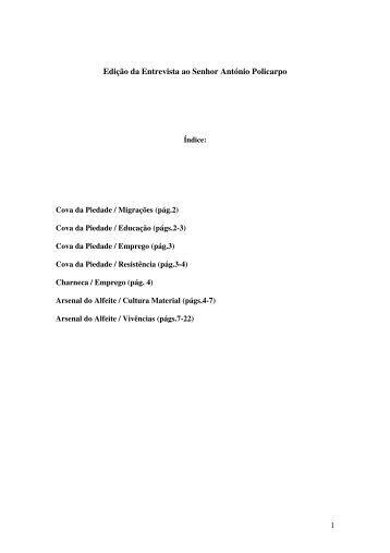 Edição da Entrevista ao Senhor António Policarpo - Repositório da ...