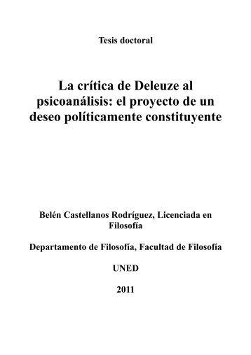La crítica de Deleuze al psicoanálisis: el proyecto ... - e-spacio UNED
