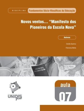 Manifesto dos Pioneiros da Escola Nova - SEAD/UEPB - Secretaria ...