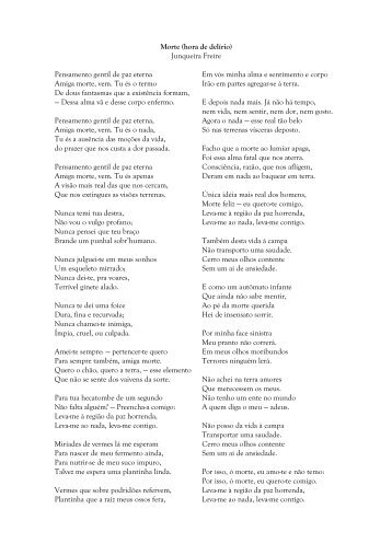 Morte (hora de delírio) Junqueira Freire Pensamento gentil de paz ...