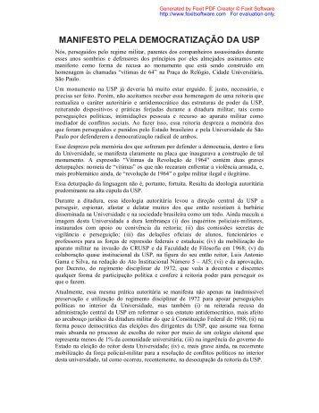 MANIFESTO PELA DEMOCRATIZAÇÃO DA USP