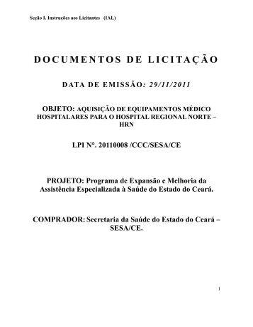 Seção I. Instruções aos Licitantes (IAL) - SEPLAG - Sistema de ...