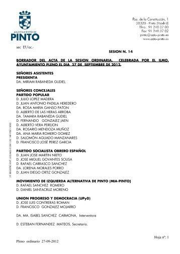 Pleno ordin nario 27-09 9-2012 Hoja n nº: 1 - Ayuntamiento de Pinto