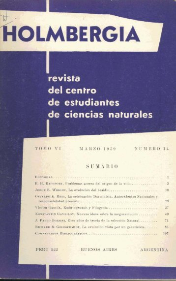 Biblioteca Digital | FCEN-UBA | Holmbergia Nº 14 Revista del ...
