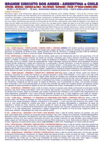 Descrição Roteiro - Andes - Viagens e Turismo